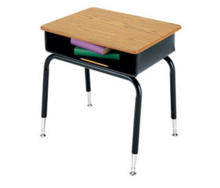 Open Front Student Desk with Plastic Book Box, D57145S