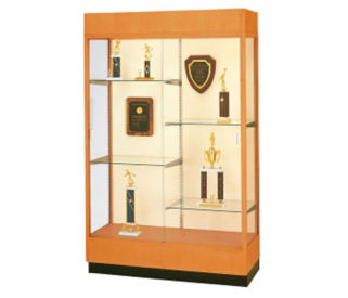 "Oak Frame Trophy Display Case with Mirror Back - 48""W x 70""H, D81036"