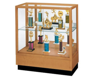"Oak Trophy Display Case with Fabric Back - 36""W x 40""H, D81034"