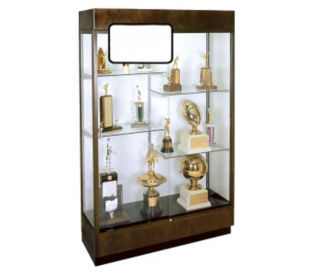 Display Case with Half Glass Shelves and Mirror Back, L40085