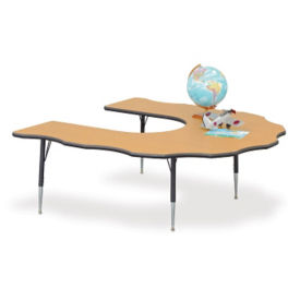 "60"" x 66"" Adjustable Scalloped Horseshoe Activity Table, A11125"