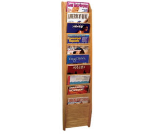Oak Literature Rack with 10 Magazine Pockets, D33028