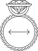 Un croquis d'une alliance avec diamant vue de côté avec une double flèche à l'intérieur de l'anneau.