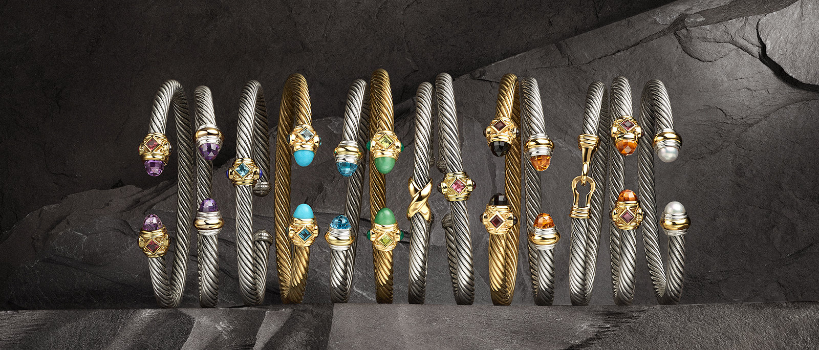 David Yurman Renaissance, The Cable Collection® and X Collection bracelets in sterling silver with 18K gold or in 18K gold with a chromatic array of colored gemstones