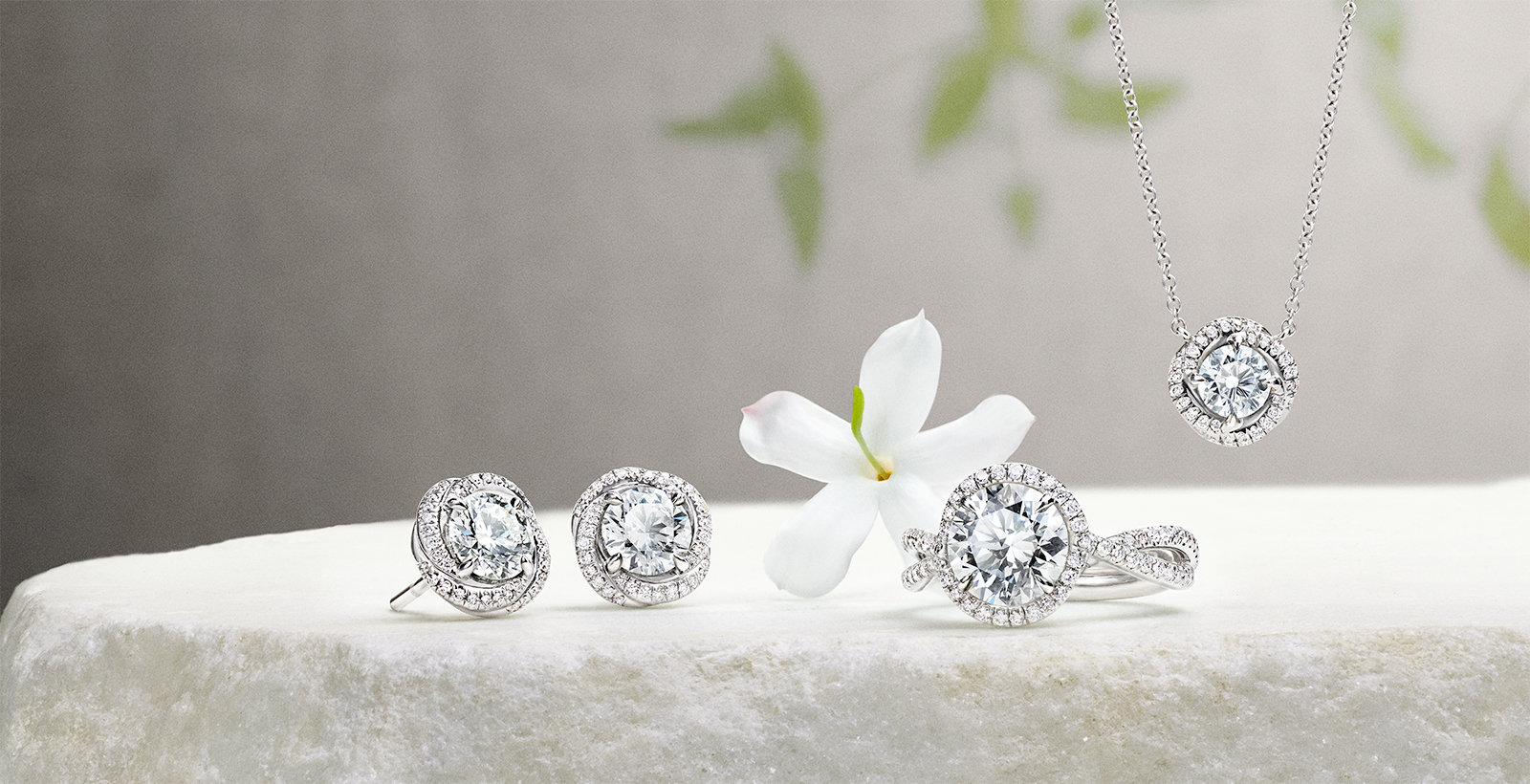 Diamond earrings, ring and a pendant in platinum with diamonds on a stone with jasmine.
