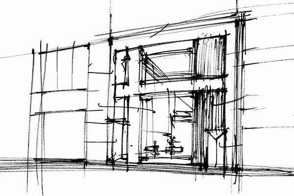 位于纽约市的David Yurman新旗舰店外观的粗略草图。此草图描绘了店铺的正面以及旁边的建筑,包括门、矩形窗户和十字形窗框。