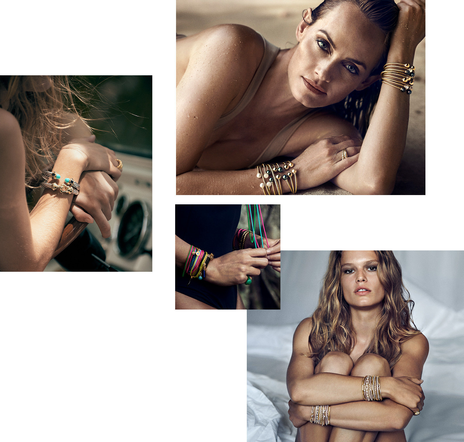 A collage of photos of models Anna Ewers, Joan Smalls and Amber Valetta wearing David Yurman jewellery.
