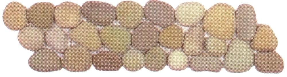 Bati Orient Pebbles Golden Rectified Matte Pebble Border