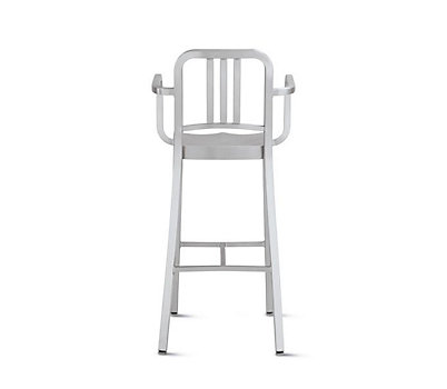 1006 Navy® Barstool with Arms in Brushed Finish