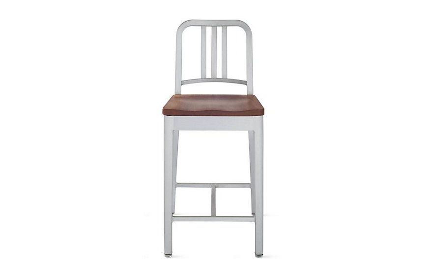 1006 Navy® Counter Stool with Wood or Vinyl Seat