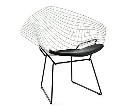 Bertoia Two-Tone Diamond Lounge Chair with Seat Pad