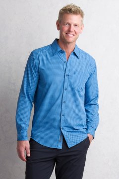 Salida Plaid Shirt L/S, Deep Water, medium