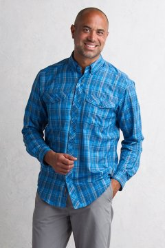 Minimo Plaid L/S, Navy, medium