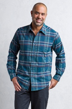 Kensington Plaid L/S, Navy, medium