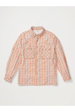 Men's Air Strip Check Plaid Long-Sleeve Shirt, Gold Flame, medium