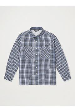 Men's Air Strip Check Plaid Long-Sleeve Shirt, Admiral Blue, medium