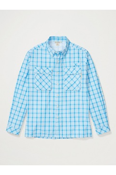 Men's Air Strip Check Plaid Long-Sleeve Shirt, Blue Bell, medium