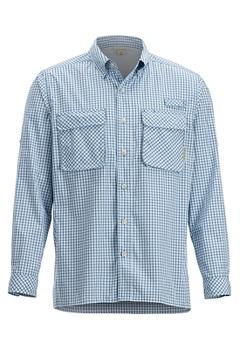 Men's Air Strip Check Plaid Long-Sleeve Shirt, Deep Water, medium