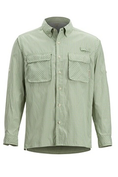 Men's Air Strip Check Plaid Long-Sleeve Shirt, Wheatgrass, medium