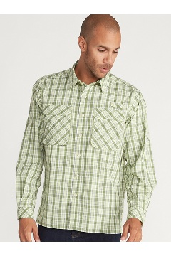 Men's Air Strip Check Plaid Long-Sleeve Shirt, Margarita, medium