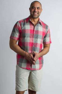 Next-To-Nothing Artesia Plaid S/S, Caliente, medium