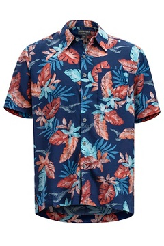Men's Next-To-Nothing Pindo Print Short-Sleeve Shirt, Ink Topricola, medium