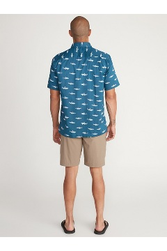 Men's Next-To-Nothing Pindo Print Short-Sleeve Shirt, Galaxy Trout Party, medium