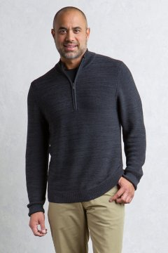 Thurlow 1/4 L/S, Black/Dk Pebble, medium