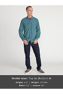 Men's BugsAway Halo Check Long-Sleeve Shirt, Dk Navy, medium