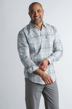 BugsAway Sol Cool Plaid L/S, Corsair, medium