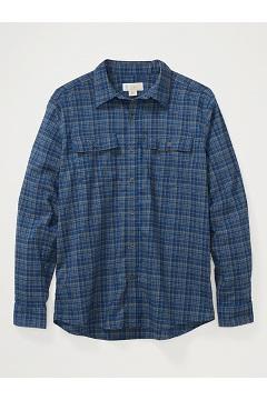Men's BugsAway Kempsey Lightweight UPF 50 Long-Sleeve Flannel Shirt, Admiral Blue, medium