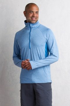 BugsAway Sol Cool Zip Neck L/S, Deep Water, medium