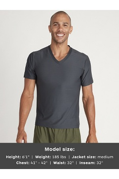 Men's Give-N-Go 2.0 V-Neck Tee, Dark Steel, medium