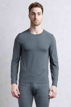 Give-N-Go Performance Base Layer Crew, Dk Pebble, medium