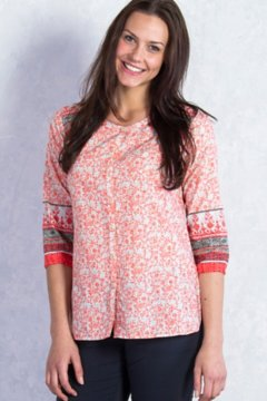 Next-to-Nothing Geo Print Artisan, Hot Coral Print, medium