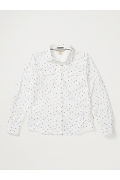 Women's Missoula Long-Sleeve Shirt, White Fly Print, medium