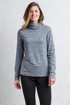 Wanderlux Marl Turtleneck, Black Marl, medium
