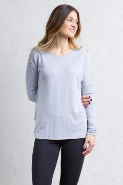 Galiano V Neck, Lilac Grey Heather, medium