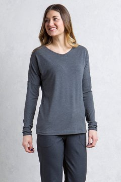 Galiano V Neck, Black Heather, medium