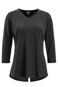 Women's Wanderlux 3/4 Sleeve Shirt, Black, medium