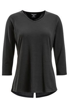 Women's Wanderlux 3/4 Sleeve Shirt, Black, medium