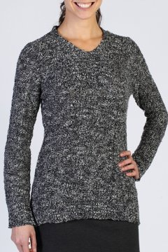 Icelandia Boucle V Neck, Black, medium