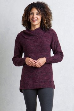 Sylvia Cowl Neck, Malbec Marl, medium