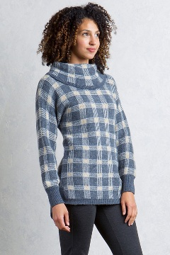 Sylvia Cowl Neck, Grey Heather Plaid, medium