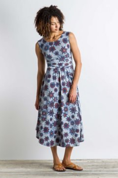 Wanderlux Cap Sleeve Midi Dress, Tile Print, medium