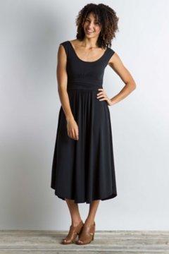 Wanderlux Cap Sleeve Midi Dress, Black, medium