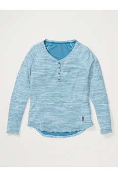 Women's BugsAway Novais Long-Sleeve Henley, Atlantic Heather, medium
