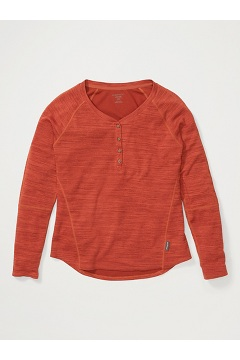 Women's BugsAway Novais Long-Sleeve Henley, Rust Heather, medium