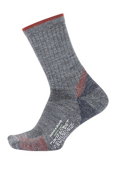 Men's BugsAway Solstice Canyon Crew Socks, Grey Heather/Retro Red, medium