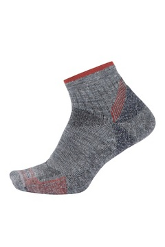 Men's BugsAway Solstice Canyon Quarter Socks, Grey Heather/Retro Red, medium